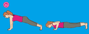 Pilates plank to push up