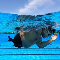 RIO DE JANEIRO, BRAZIL - APRIL 23: Maximiliano Matto of Argentina trains in the warm up pool during the Paralympic Swimming Tournament - Aquece Rio Test Event for the Rio 2016 Paralympics at the Olympic Aquatics Stadium on April 23, 2016 in Rio de Janeiro, Brazil. (Photo by Buda Mendes/Getty Images)