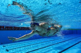 RIO DE JANEIRO, BRAZIL - APRIL 23:  Camila Haase Quiros of Costa Rica trains in the warm up pool during the Paralympic Swimming Tournament - Aquece Rio Test Event for the Rio 2016 Paralympics at the Olympic Aquatics Stadium on April 23, 2016 in Rio de Janeiro, Brazil.  (Photo by Buda Mendes/Getty Images)