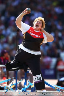 LONDON, ENGLAND - SEPTEMBER 08:  Ilke Wyludda of Germany competes in the Women's Shot Put — F57/58 final on day 10 of the London 2012 Paralympic Games at Olympic Stadium on September 8, 2012 in London, England.  (Photo by Michael Steele/Getty Images)