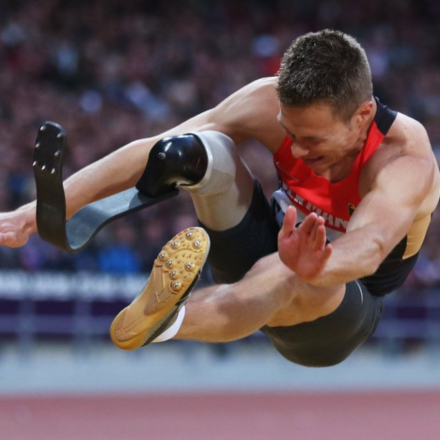 LONDON, ENGLAND - AUGUST 31: Markus Rehm of Germany competes in the Men's Long Jump - F42/44 Final on day 2 of the London 2012 Paralympic Games at Olympic Stadium on August 31, 2012 in London, England. (Photo by Julian Finney/Getty Images)
