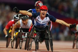 LONDON, ENGLAND - SEPTEMBER 04:  David Weir of Great Britain celebrates winning the Men's 1500m ? T54 final on day 6 of the London 2012 Paralympic Games at Olympic Stadium on September 4, 2012 in London, England.  (Photo by Hannah Peters/Getty Images)