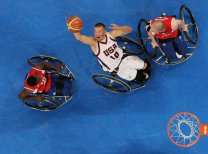 BEIJING - SEPTEMBER 16: Jeff Glasbrenner of the United States rebounds during the Bronze Medal Wheelchair Basketball match between the United States and Great Britain at the National Indoor Stadium during day ten of the 2008 Paralympic Games on September 16, 2008 in Beijing, China. (Photo by Adam Pretty/Getty Images)