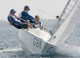 ATHENS, GREECE - SEPTEMBER 19:  John Robertson, Stephen Thomas (C) and Hannah Stodel (L) of Great Britain compete in the Mixed Sonar Sailing during the Athens 2004 Paralympic Games on September 19, 2004 at Agios Kosmas Olympic Sailing Centre in Athens, Greece.  (Photo by Phil Cole/Getty Images)