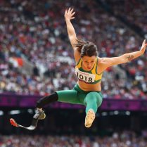 LONDON, ENGLAND - SEPTEMBER 02: Kelly Cartwright of Australia competes in the Women's Long Jump - F42/44 Final on day 4 of the London 2012 Paralympic Games at Olympic Stadium on September 2, 2012 in London, England. (Photo by Michael Steele/Getty Images)